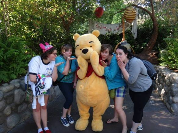 winnie the pooh, pooh's thoughtful spot, disneyland, high school reunion, disney characters, disney meet and greet
